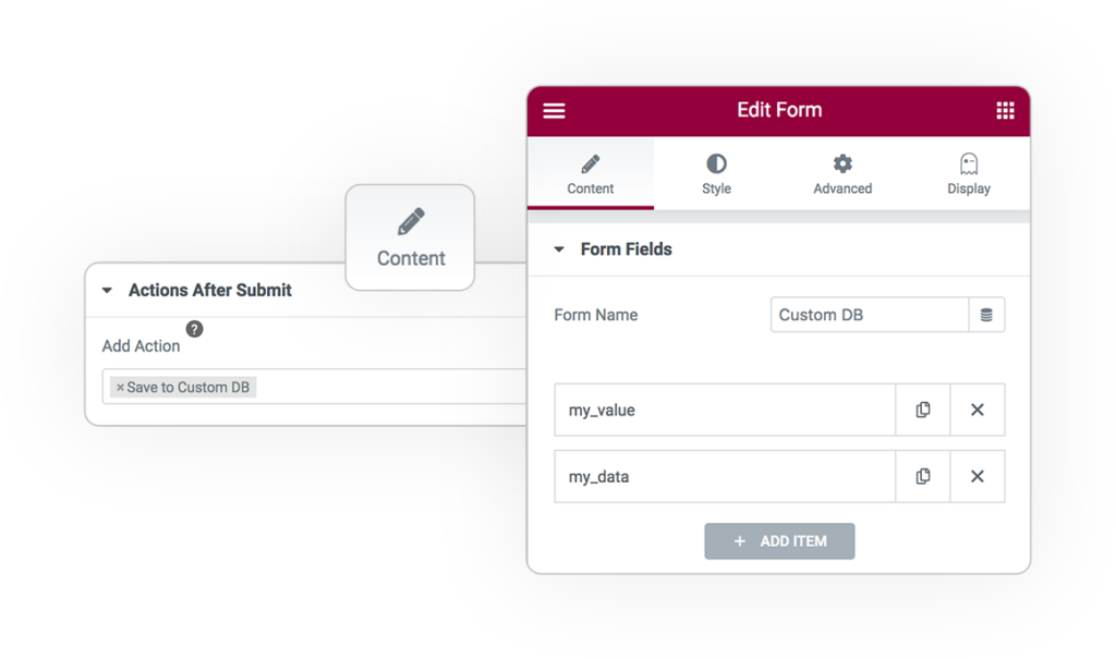 Pro Form ACTIONS Save customdb 1