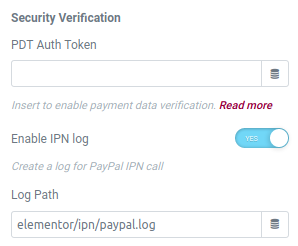 elementor form paypal action security
