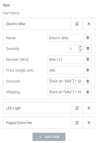 elementor form paypal action shopping cart