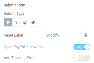elementor form paypal action submit