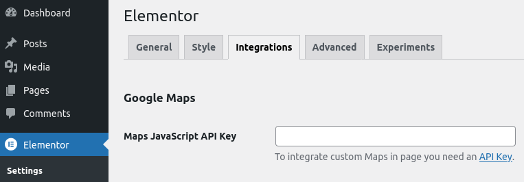 elementor settings google maps api integration