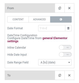 elementor datetime range