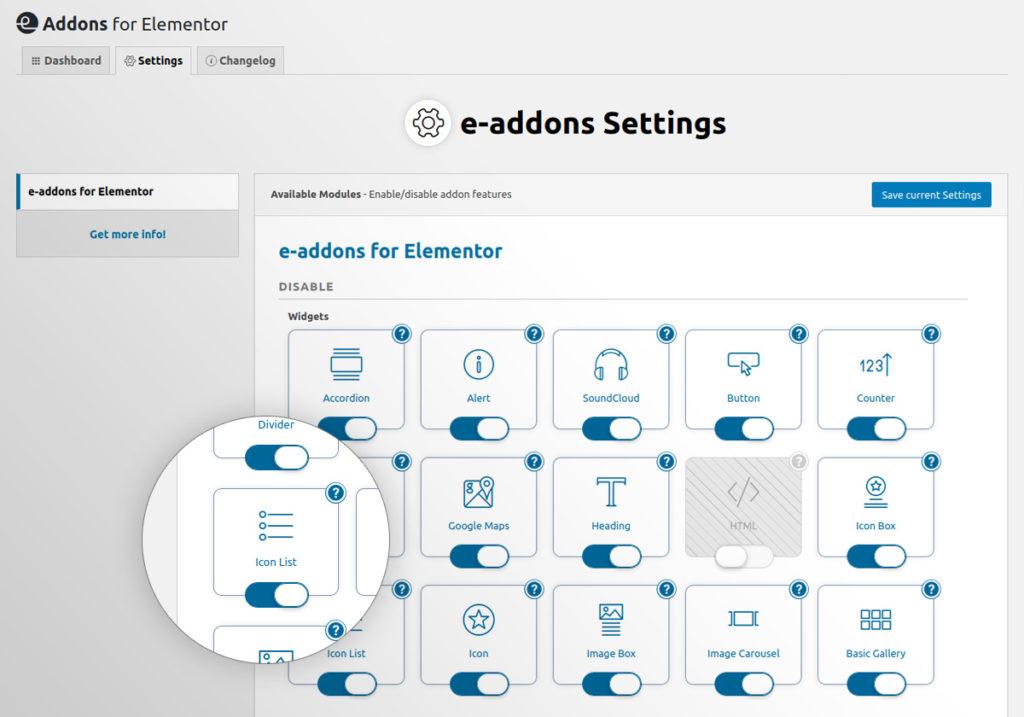 01 e addons framework disabllewidgets