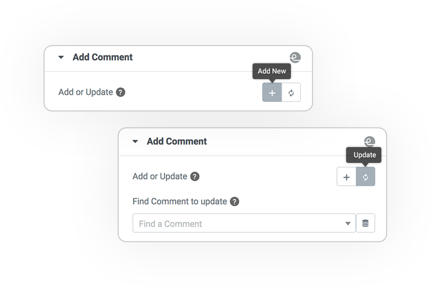 Pro Form ACTIONS Save comment REGISTER and UPDATE