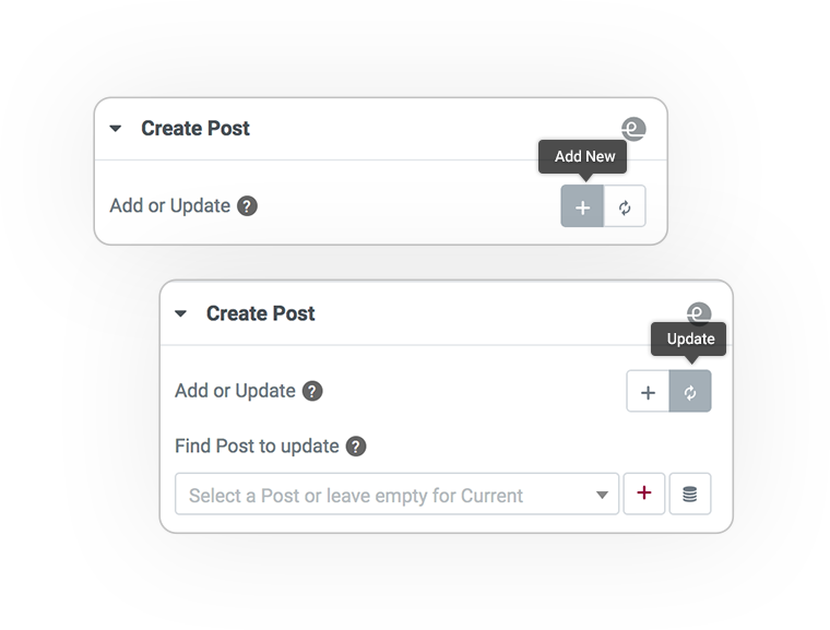 Pro Form ACTIONS Save post REGISTER and UPDATE