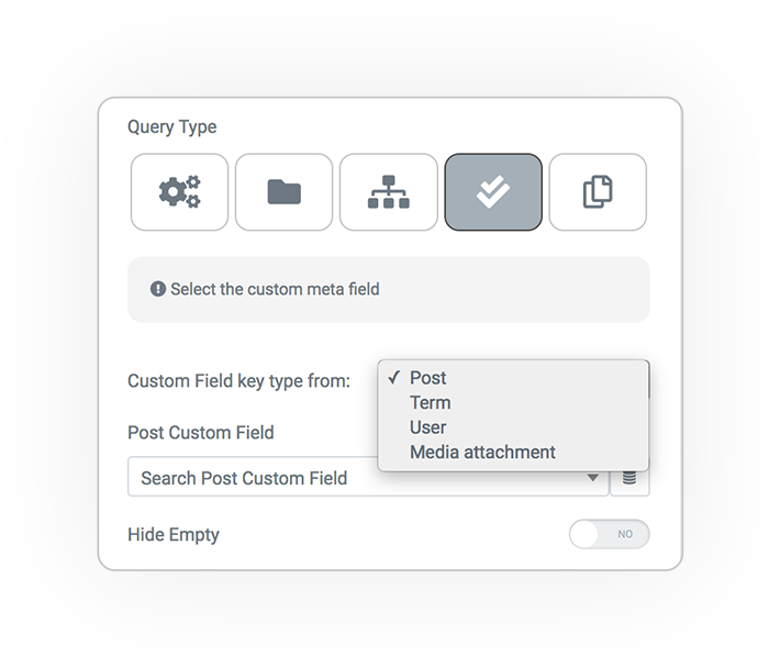 query type from custom field terms