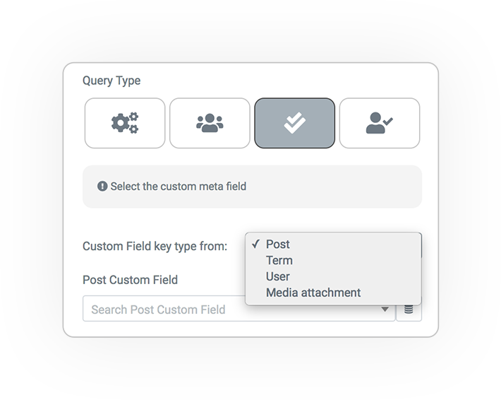 query type from custom field users