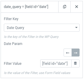 form action query posts filter date args
