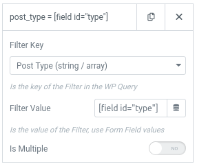 form action query posts filter type args