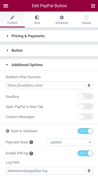 elementor pro paypal button tracking