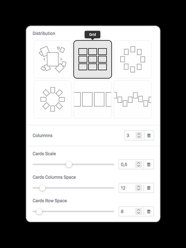 skin cards distribution grid