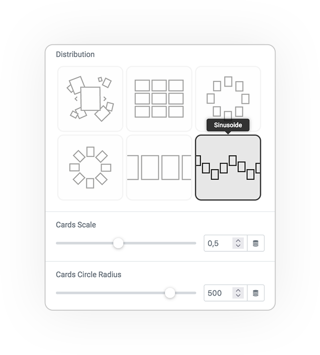skin cards distribution sinusoide