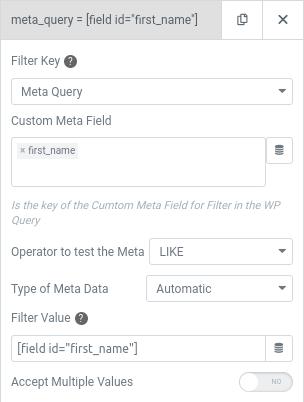 elementor user query meta