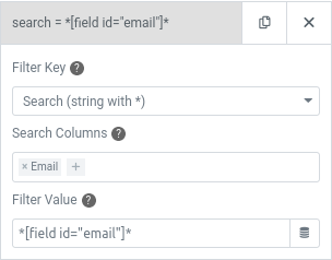 elementor user query search